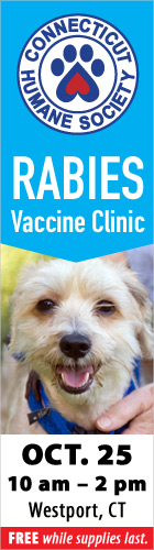 FREE Rabies Vaccine Clinic in Westport October 25 10:00 AM - 02:00 PM  Compo Beach Parking Lot 60 Compo Beach Road, Westport